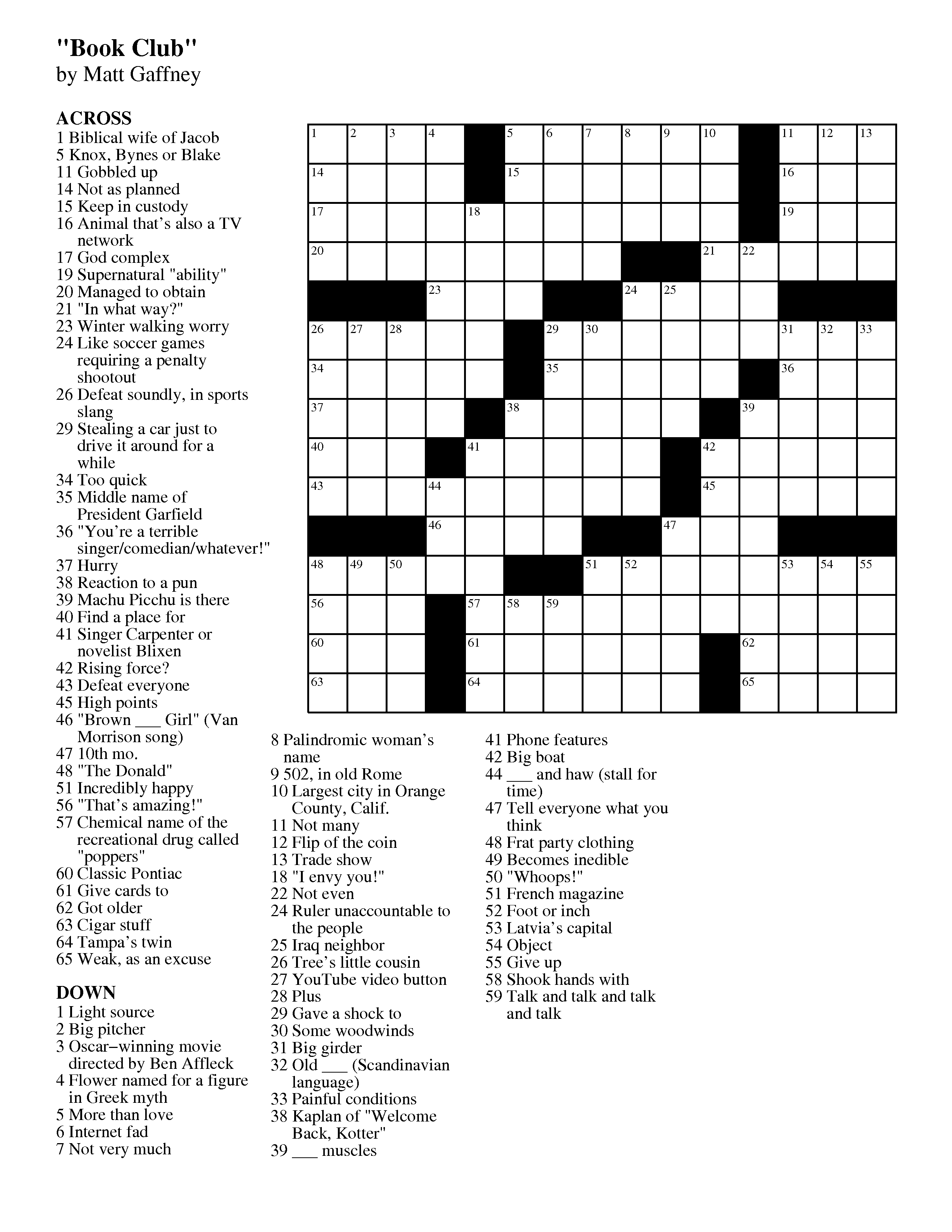 You can solve this crossword with Across Lite on your computer or iPad. Click or tap the icon below to download the crossword.  sc 1 st  Matt Gaffneyu0027s Weekly Crossword Contest & MGWCC #253 u2014 Friday April 5th 2013 u2014 u201cBook Clubu201d   Matt ... 25forcollege.com
