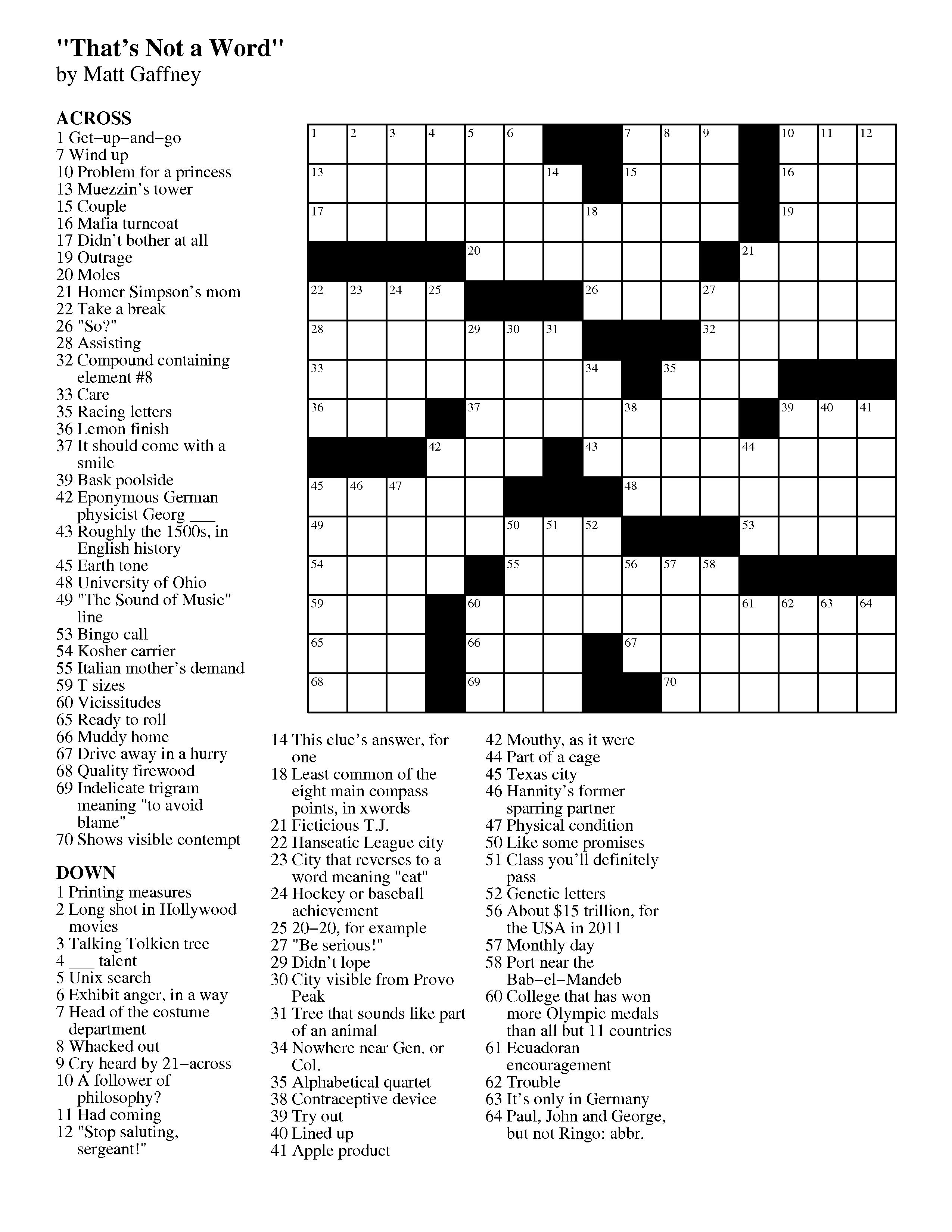 Austrian Conductor Crossword Mgwcc